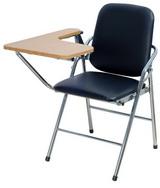 白宮皮面課桌椅 木紋面/電鍍腳