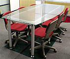 船形噴砂玻璃加鋁合金腳會議桌