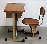 可調式弧型課桌椅(胡桃木色)