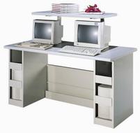 雙人電腦桌含上層架