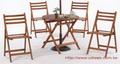 休閒餐桌組 圓形桃花心木折合式